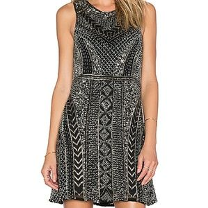 ISO Parker Allegra dress in Black and silver sz6